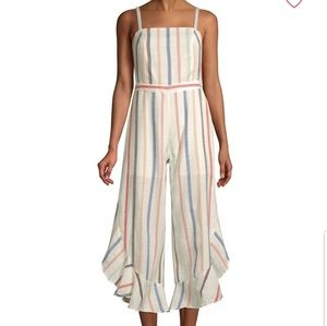 RED CARTER  striped cotton ruffle everly jumpsuit